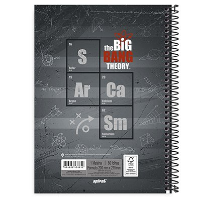 Caderno universitário capa dura 1x1 80 folhas The Big Bang Theory 211662 Spiral PT 1 UN