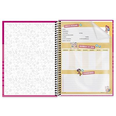 Caderno universitário capa dura 1x1 80 folhas Turma da Mônica Magali 211667 Spiral PT 1 UN