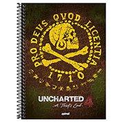 Caderno universitário capa dura 1x1 80 folhas Uncharted 211672 Spiral PT 1 UN