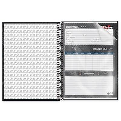 Caderno universitário capa dura 1x1 80 folhas Velozes e Furiosos 211673 Spiral PT 1 UN