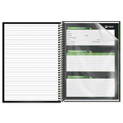 Caderno universitário capa dura 1x1 80 folhas XBox 211677 Spiral PT 1 UN