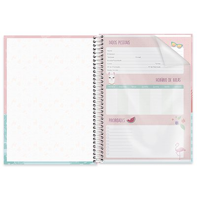 Caderno universitário capa dura 1x1 80 folhas Tendency Flamingo 211656 Spiral PT 1 UN
