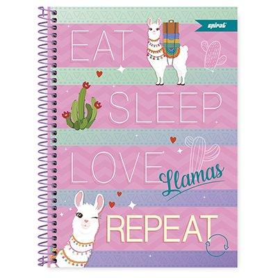 Caderno universitário capa dura 1x1 80 folhas Tendency Lhama 211659 Spiral PT 1 UN