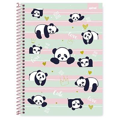 Caderno universitário capa dura 1x1 80 folhas Tendency Panda 211660 Spiral PT 1 UN