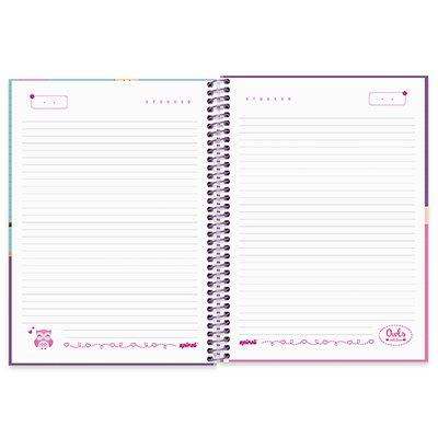 Caderno universitário capa dura 1x1 80 folhas Corujinhas 211543 Spiral PT 1 UN