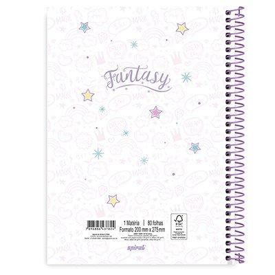 Caderno universitário capa dura 1x1 80 folhas Fantasy Stay Magical 211569 Spiral PT 1 UN