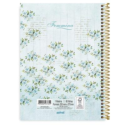 Caderno universitário capa dura 1x1 80 folhas Femmina Verde 211572 Spiral PT 1 UN