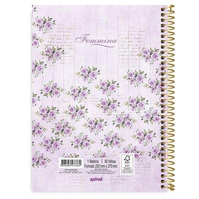 Caderno universitário capa dura 1x1 80 folhas Femmina Lilás 211573 Spiral UN 1 UN