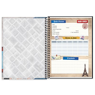 Caderno universitário capa dura 1x1 80 folhas Hard Cover London 211584 Spiral PT 1 UN