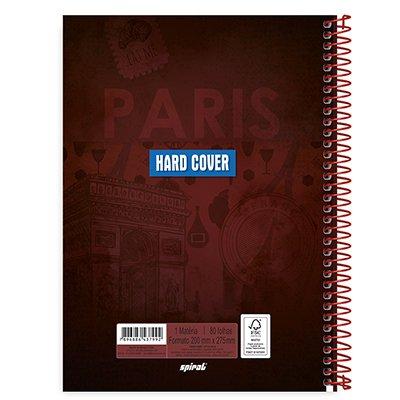 Caderno universitário capa dura 1x1 80 folhas Hard Cover Paris 211586 Spiral PT 1 UN