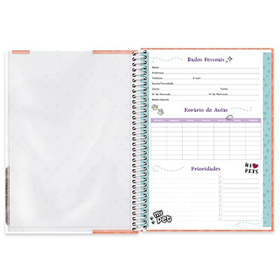 Caderno universitário capa dura 1x1 80 folhas My Pet Gato 211630 Spiral PT 1 UN