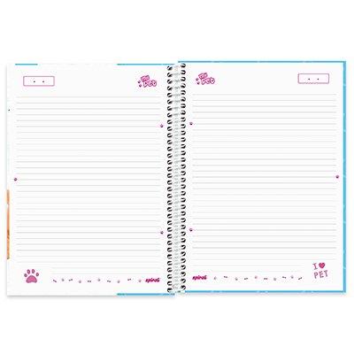 Caderno universitário capa dura 1x1 80 folhas My Pet Golden 211632 Spiral PT 1 UN