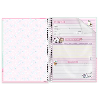 Caderno universitário capa dura 1x1 80 folhas Pop Pet 211638 Spiral PT 1 UN
