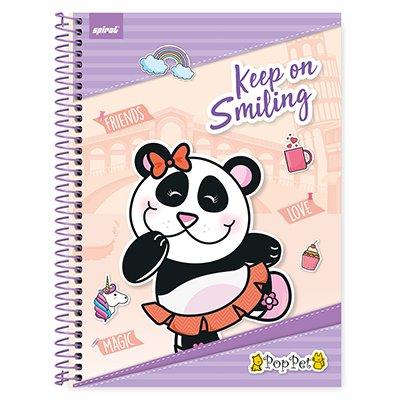 Caderno universitário capa dura 1x1 80 folhas Pop Pet 211641 Spiral PT 1 UN