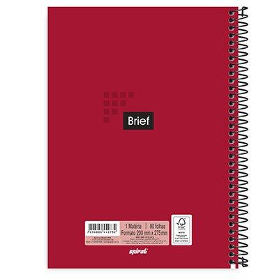 Caderno universitário capa dura 1x1 80 folhas Brief Case Vermelho 211701 Spiral PT 1 UN