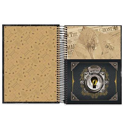 Caderno universitário capa dura 10x1 160 folhas Animais Fantásticos e Onde Habitam 211811 Spiral PT 1 UN