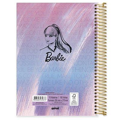 Caderno universitário capa dura 10x1 160 folhas Barbie 211814 Spiral PT 1 UN