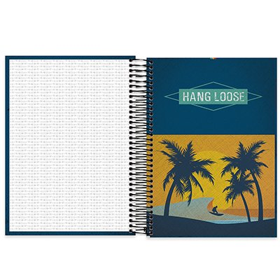 Caderno universitário capa dura 10x1 160 folhas Hangloose 211848 Spiral PT 1 UN