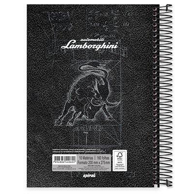 Caderno universitário capa dura 10x1 160 folhas Lamborghini 211864 Spiral PT 1 UN