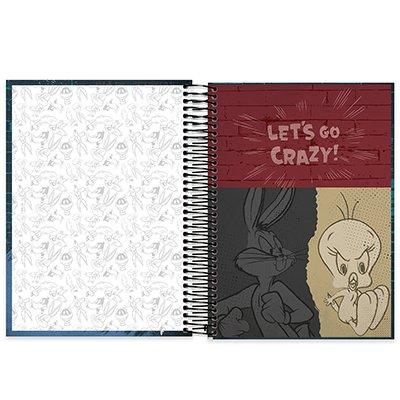 Caderno universitário capa dura 10x1 160 folhas Looney Tunes Pernalonga 211869 Spiral PT 1 UN