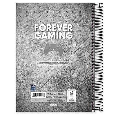 Caderno universitário capa dura 10x1 160 folhas Playstation 211898 Spiral PT 1 UN