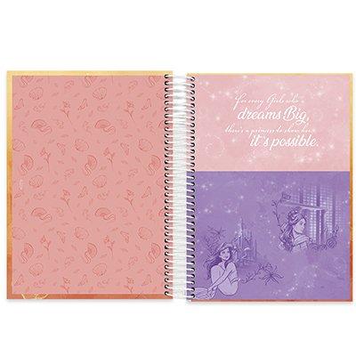 Caderno universitário capa dura 10x1 160 folhas Disney Princesas Bela 211832 Spiral PT 1 UN