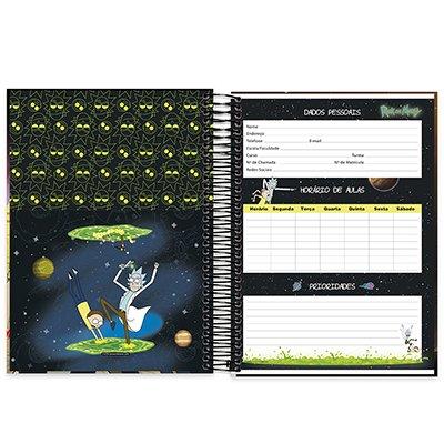 Caderno universitário capa dura 10x1 160 folhas Rick & Morty 211953 Spiral PT 1 UN
