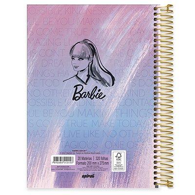 Caderno universitário capa dura 20x1 320 folhas Barbie 212097 Spiral PT 1 UN