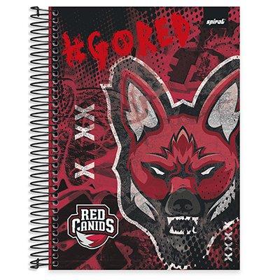 Caderno universitário capa dura 20x1 320 folhas Red Canids 212159 Spiral PT 1 UN
