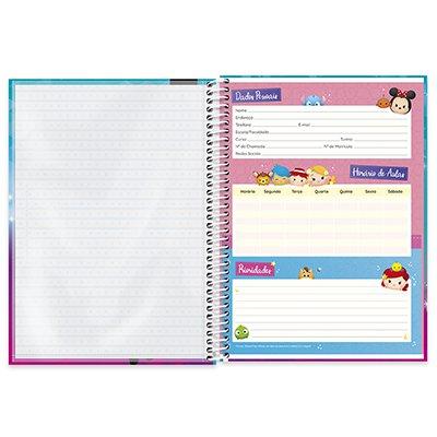 Caderno universitário capa dura 1x1 80 folhas Disney Tsum Tsum Elsa 211563 Spiral PT 1 UN