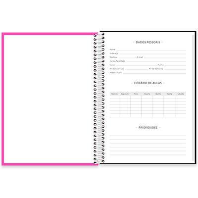 Caderno universitário capa dura 1x1 80 folhas Lumi Rosa 211685 Spiral PT 1 UN