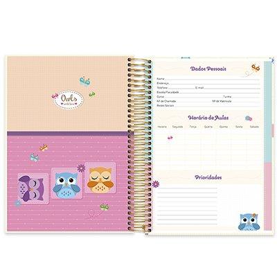 Caderno universitário capa dura 20x1 320 folhas Corujinhas 212100 Spiral UN 1 UN