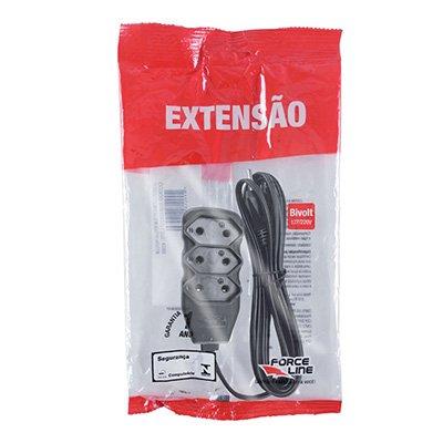 Extensão elétrica 3 tomadas 10A c/ 3m 2 pinos preto 180200237 Force-line BT 1 UN
