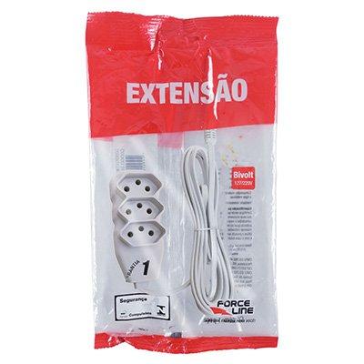 Extensão elétrica 3 tomadas 10A c/ 3m 3 pinos branco 180200250 Force-line BT 1 UN