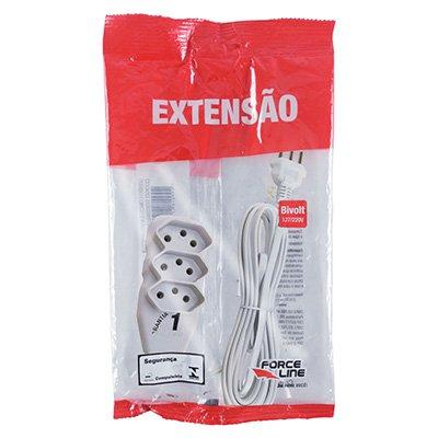 Extensão elétrica 3 tomadas 10A c/ 5m 3 pinos branco 180200251 Force-line BT 1 UN