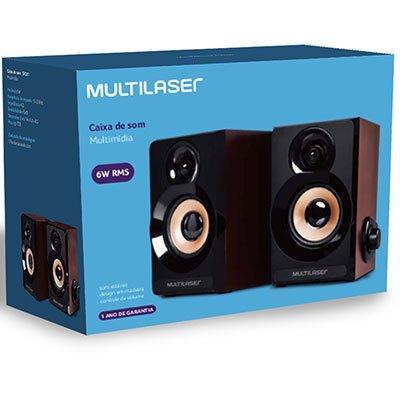 Caixa de som 6w rms 2.0 P2 madeira SP261 Multilaser CX 1 UN