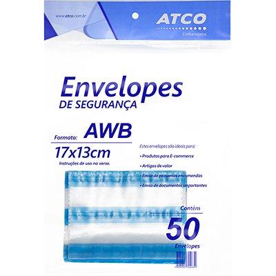 Envelope plástico de segurança 170x130 janela ades. 230046 Atco PT 50 UN