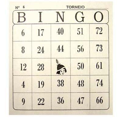 Cartela p/bingo (n.01/75)  com 100 fls Tamoio PT 15 BL