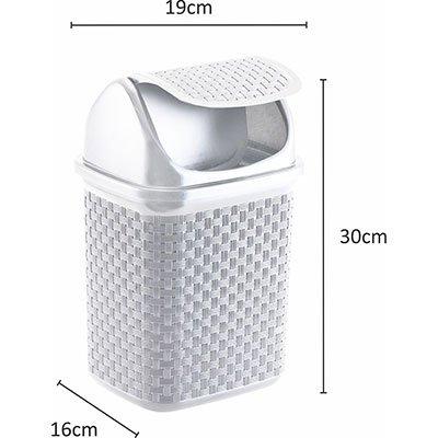 Lixeira plástica basculante 4,5L Rattan branca 134/B Nitron PT 1 UN