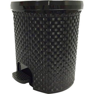 Lixeira plástica c/pedal Rattan preta 6L 052/P Nitronplast Industri PT 1 UN
