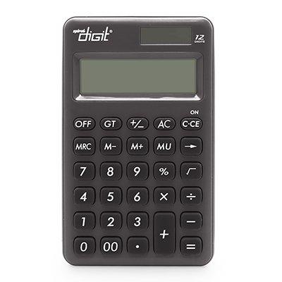 Calculadora de bolso (bat/solar/12 díg) preta 1200 Spiral Digit BT 1 UN