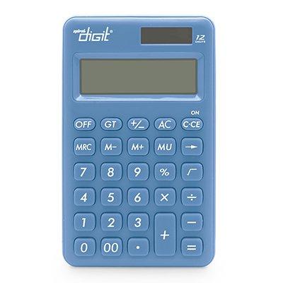 Calculadora de bolso (bat/solar/12 díg) azul 1200 Spiral Digit BT 1 UN