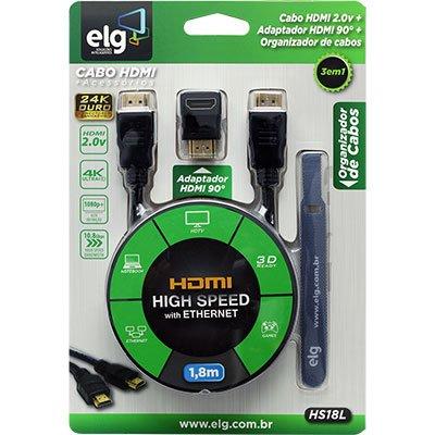 Cabo HDMI 2.0v High Speed c/ 1,8m + Adaptador 90 graus HS18L Elg BT 1 UN