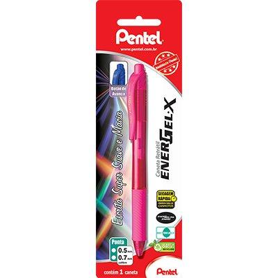 Caneta gel retrátil Energel-X 0,7mm rosa BL107 Pentel BT 1 UN