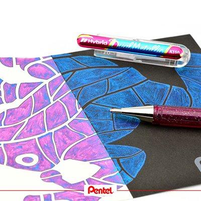 Caneta gel Hybrid Dual 1.0mm rosa SM/K110 Pentel BT 1 UN