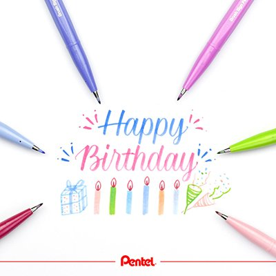 Caneta Pincel Brush Sig Pen 6 Cores, KITBRUSH-6T - Pentel BT 1 UN