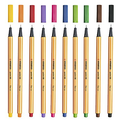 Caneta hidrográfica 10 cores 0,4mm Fine Liner 88/10 Stabilo BT 10 UN