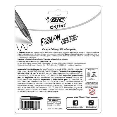 Caneta esferográfica 1.2mm 12 cores Fashion 970910 BIC PT 1 UN