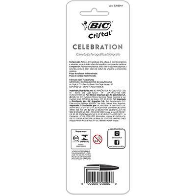 Caneta esferográfica 1.0mm Cristal Celebration az/pt 929806 BIC BT 2 UN