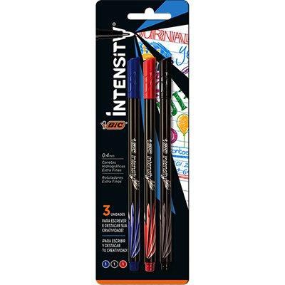 Caneta hidrográfica 3 cores 0,4mm Intensity 930191 BIC PT 3 UN